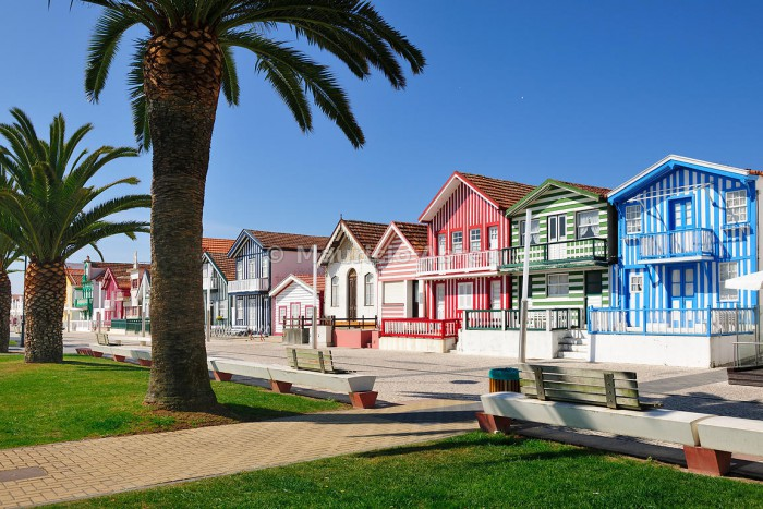 Traditional houses of Costa Nova. Portugal